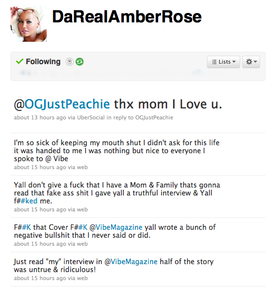 "Amber-Rose-Story Amber Rose Calls Vibe Magazine Interview ""Untrue & Ridiculous"""