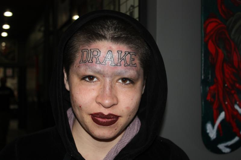 "IMG_3955 Drake Talks Woman's Forehead Tattoo ""Tatt My Name On You So I Know It's Real"" (Video)"
