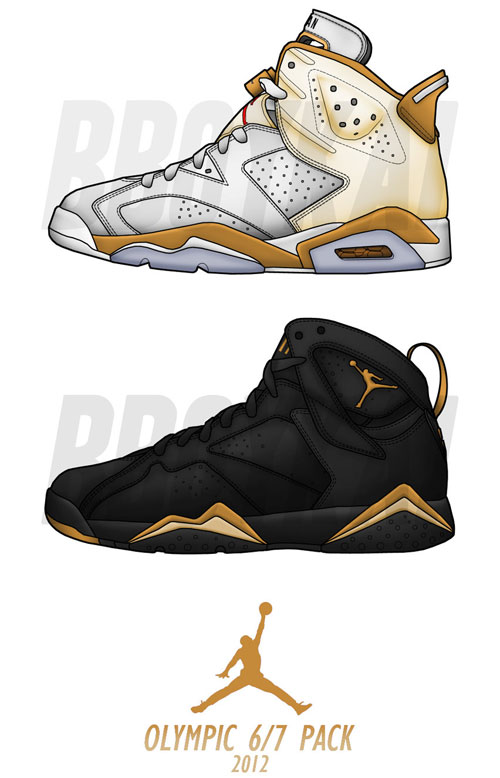 "the latest 056ad 4eb3b Air Jordan 6 & 7 ""Gold Medal"" Pack Will Be Released August ..."