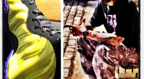 Joe Buddens Custom Electrolime Foamposites in the Lakers Colorway