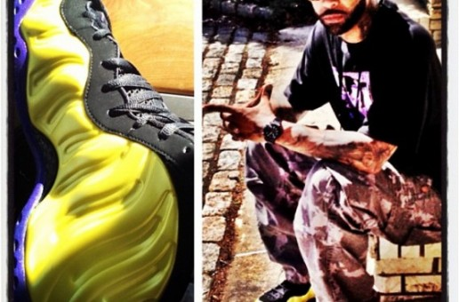 Joe Budden's Custom Electrolime Foamposites in the Lakers Colorway