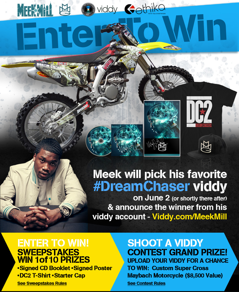 Meek Mill has teamed up with Viddy to giveaway a dirt bike. I don't