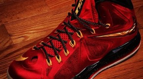 Nike Lebron X (Miami Heat) (Red,Black &#038; Gold)