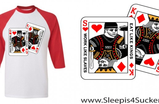 Si4S (@SleepIs4Suckers)- Work Like Slaves, Eat Like Kings (Baseball Tee) (Men)