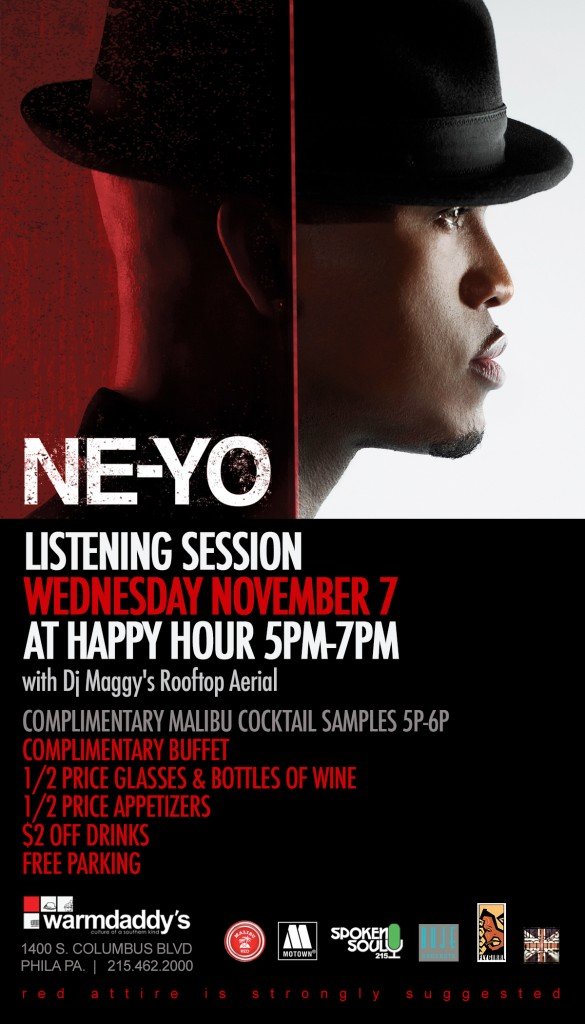 TODAY!!! Ne-Yo R.E.D. Album Listening Event From 5-7pm at Warm Daddys in Philly