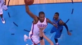 Oklahoma Thunder Kevin Durant Posterizes Dallas Mavericks Center Chris Kaman (Video)