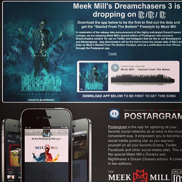 "DOWNLOAD Meek Mill New ""Postargram"" iPhone App Now"