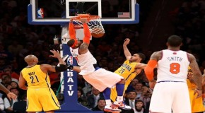 Carmelo Anthony&#8217;s Monster Dunk Puts Pacers Big Man Pendergraph On His Back (Video)