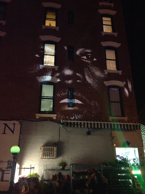 Kanye West Premiered His &quot;New Slaves&quot; Video On A Wall in Brooklyn (Video)