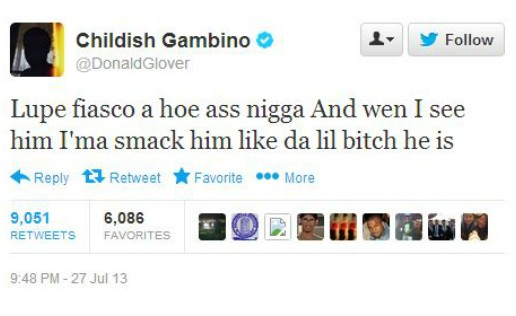 Childish Gambino Says He's Going To Smack Lupe Fiasco On Twitter