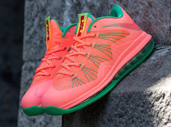 promo code 0e038 00d20 watermelon-bright-mango-lebron-10-low-1 Nike Air Lebron