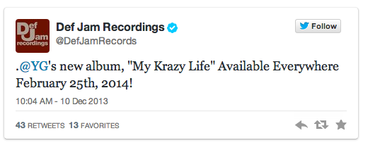 Screen shot 2013 12 10 at 11.12.56 AM YG My Krazy Life Album Release Date Announced