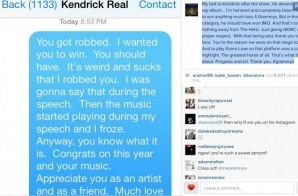 "Macklemore Says He ""Robbed"" Kendrick Lamar In Text Message"