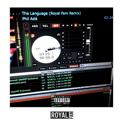 artworks 000069432471 qhlliz t500x500 Phil Ade   The Language (Royal Fam Remix)