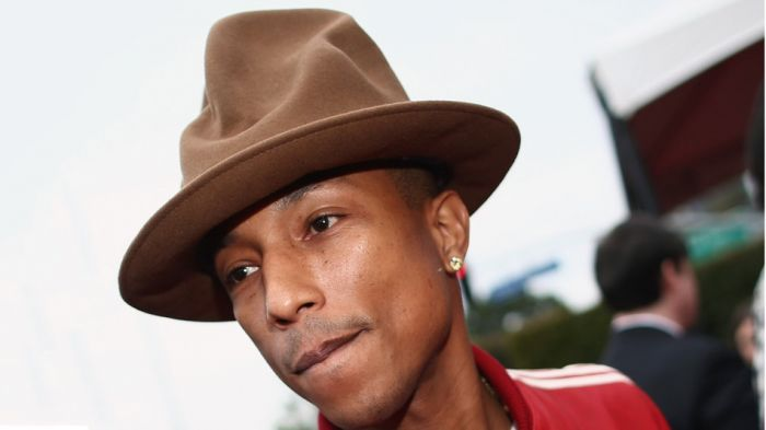 pharrell grammys hat Pharrell Discusses Grammy Hat & Updates Chad Hugos Production Work (Video)