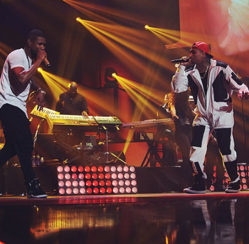 usher amp chris brown perform new flame at iheartradio music