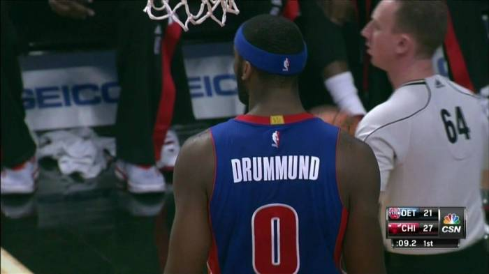 5a5cd5a10e4 dru.0 Spelling Bee  The Detroit Pistons Misspell Andre Drummond s Name On  His Uniform