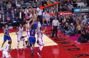 White Men Can't Jump: Knicks rookie Kristaps Porzingis Soars Over Three Raptors (Video)