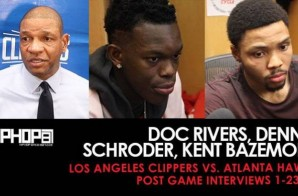 Doc Rivers, Dennis Schroder, Kent Bazemore (Los Angeles Clippers vs. Atlanta Hawks Post Game Interviews 1-23-17)