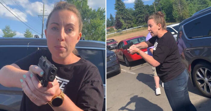 White lady pulls weapon on Black mother and high schooler